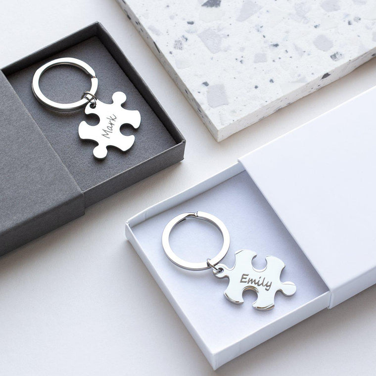 His & Hers Jigsaw Photo Keyring-Keyrings-Studio Hop-Her Weirdo-Studio Hop