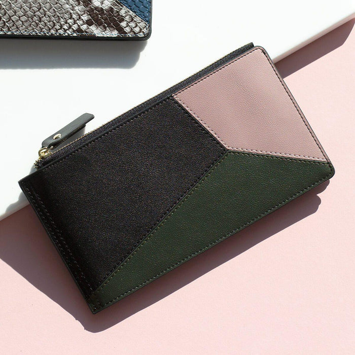 Geometric Layers Folding Leather Wallet