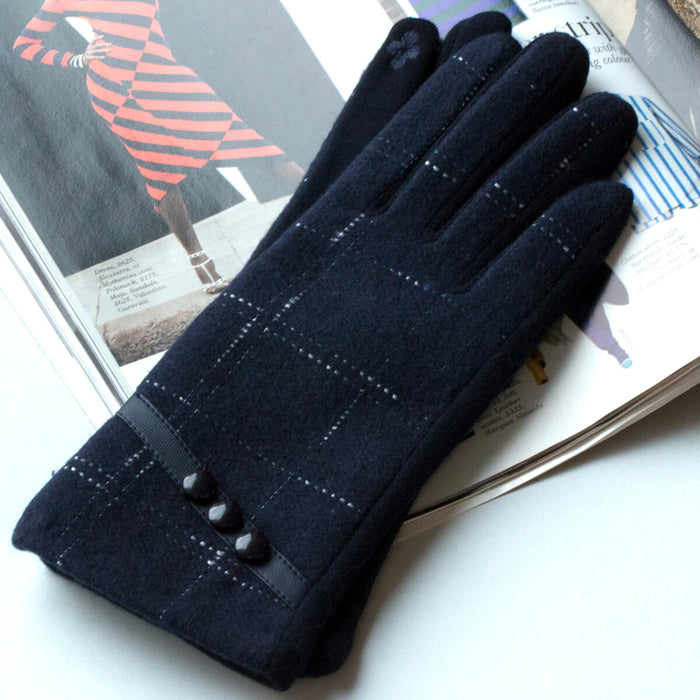 Merino Square Stitch Detail Gloves