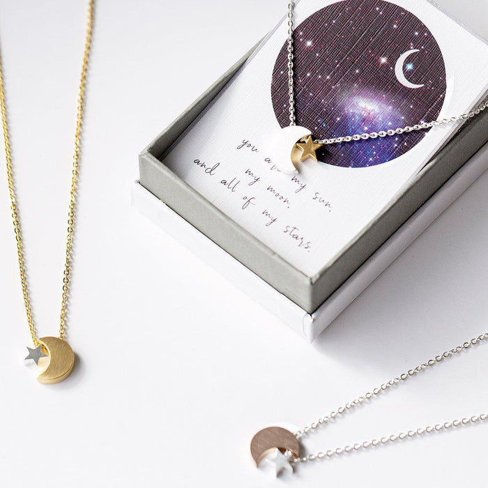 Personalised Moon and Star Necklace-Necklace-Studio Hop-Rose Gold Moon-Studio Hop