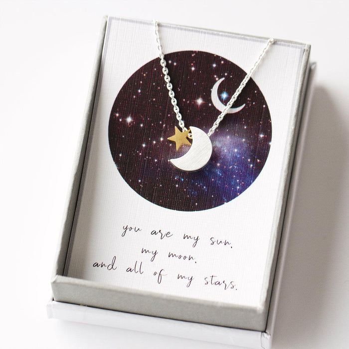Personalised Moon and Star Necklace-Necklace-Studio Hop-Silver Moon-Studio Hop