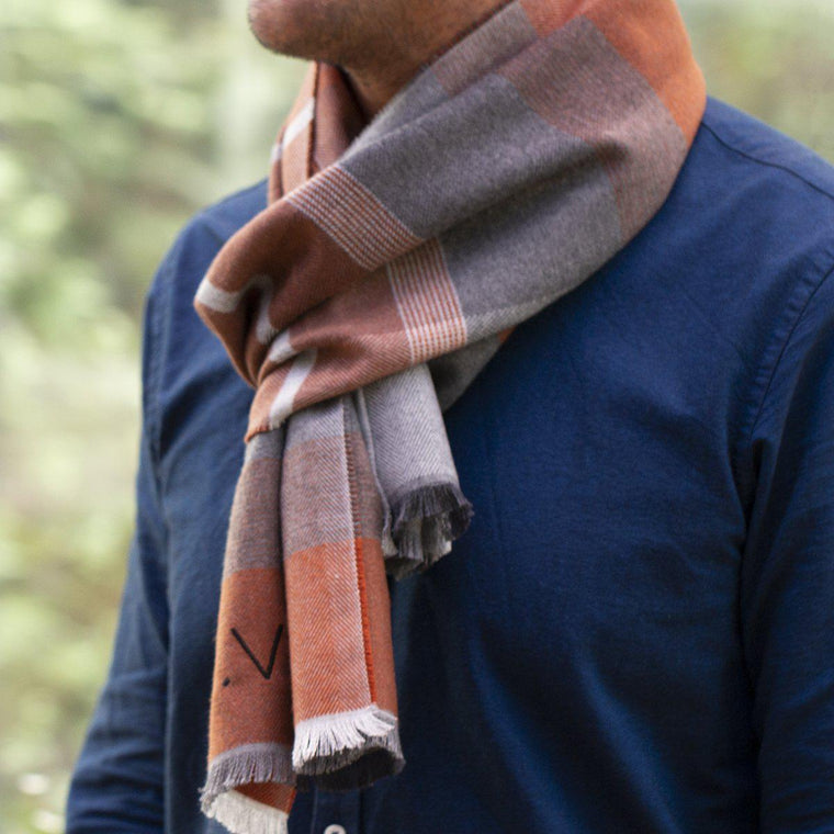 Men's Personalised Cashmere Wool Plaid Scarf
