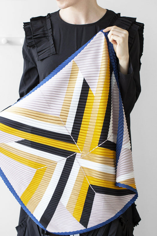 Pleated Geometry Scarf with Initial Charm