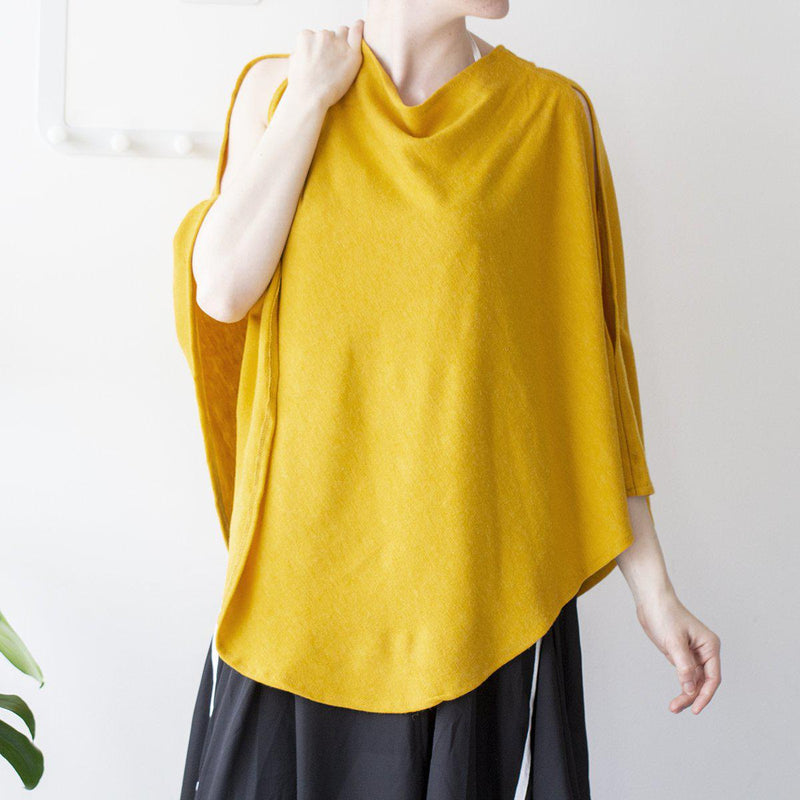Personalised Open Shoulder Knit Poncho-Poncho-Studio Hop-Yellow-Studio Hop