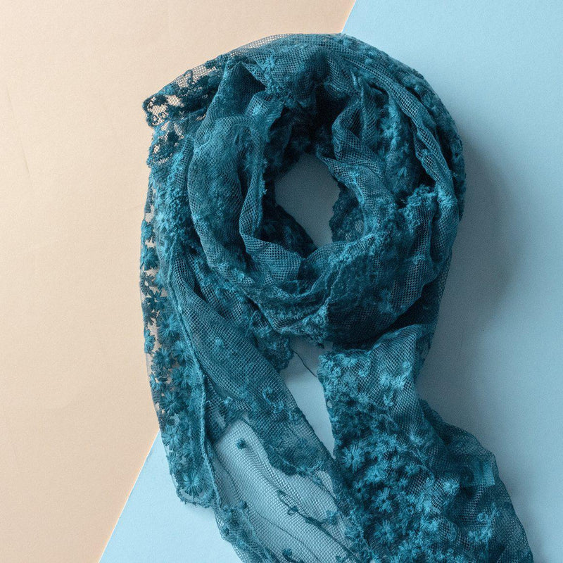 Embroidered Denim Lace Slim Scarf