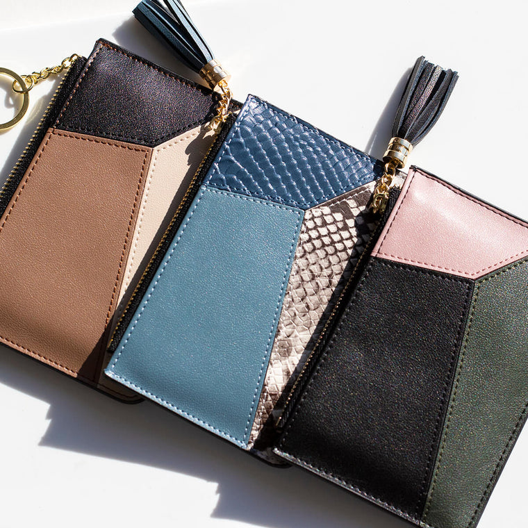 Geometric Layers Leather Purse