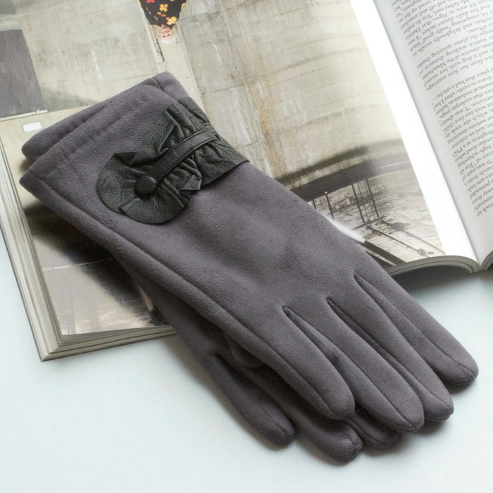 Leather Ruffle Detail Gloves
