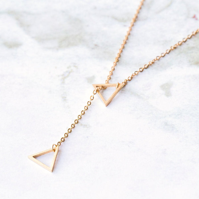 Triangle Silde Rose Gold Necklace
