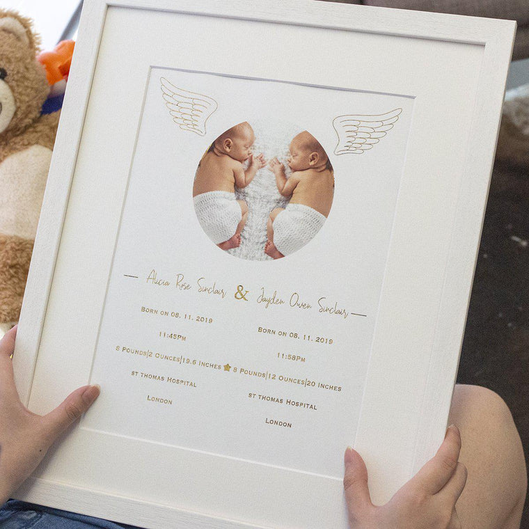 Personalised Newborn Angel Print - includes Twins option
