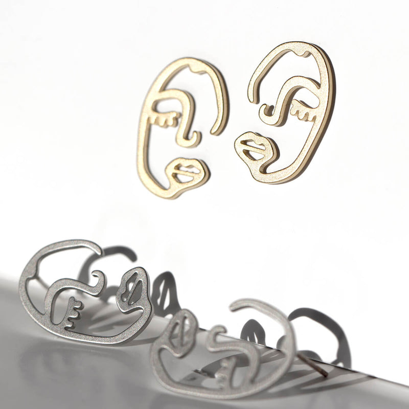 Wireframe Face Earrings with Personality
