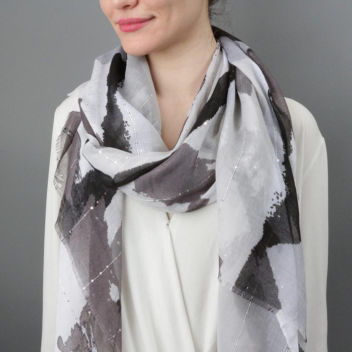 Abstract Brush Stroke Sequin Embellished Print Scarf