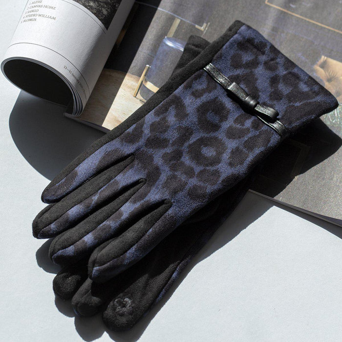 Animal Print Suede Effect Gloves