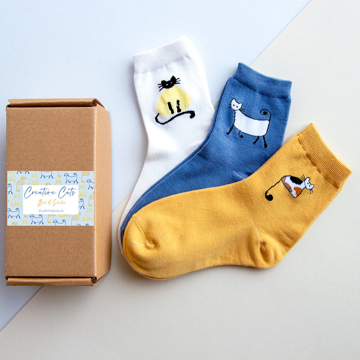 Creative Cats Sock Box-Socks-Studio Hop-Studio Hop