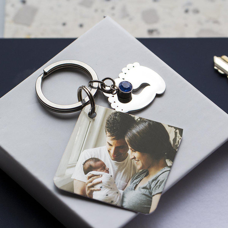 Newborn Announcement Calendar Photo Keyring
