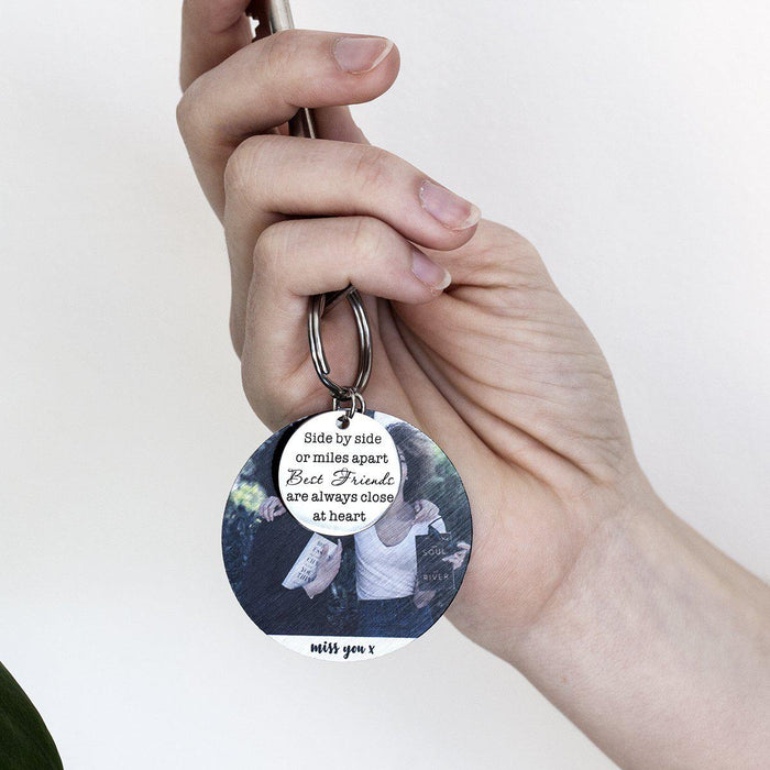 Across the Distance Best Friends Compass Keyring with Photo Plate
