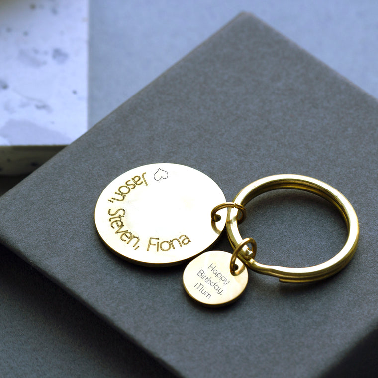 Personalised Golden Birth Flower Keyring