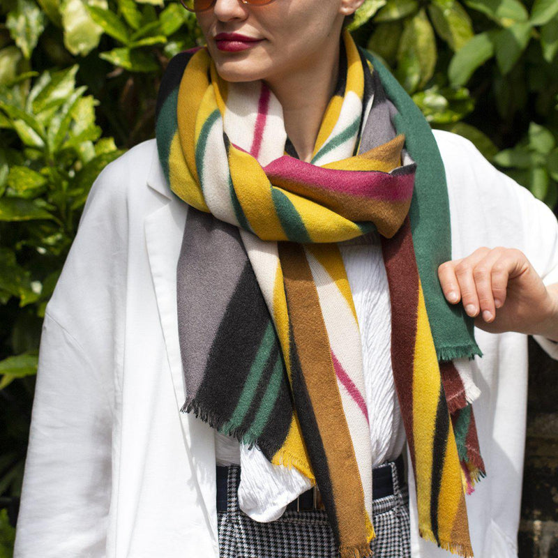 Personalised Colourblock Stripes Gauze Scarf