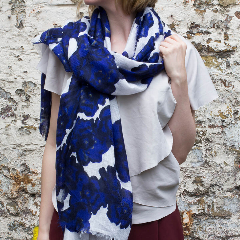 Blue Waterlily Print Summer Scarf
