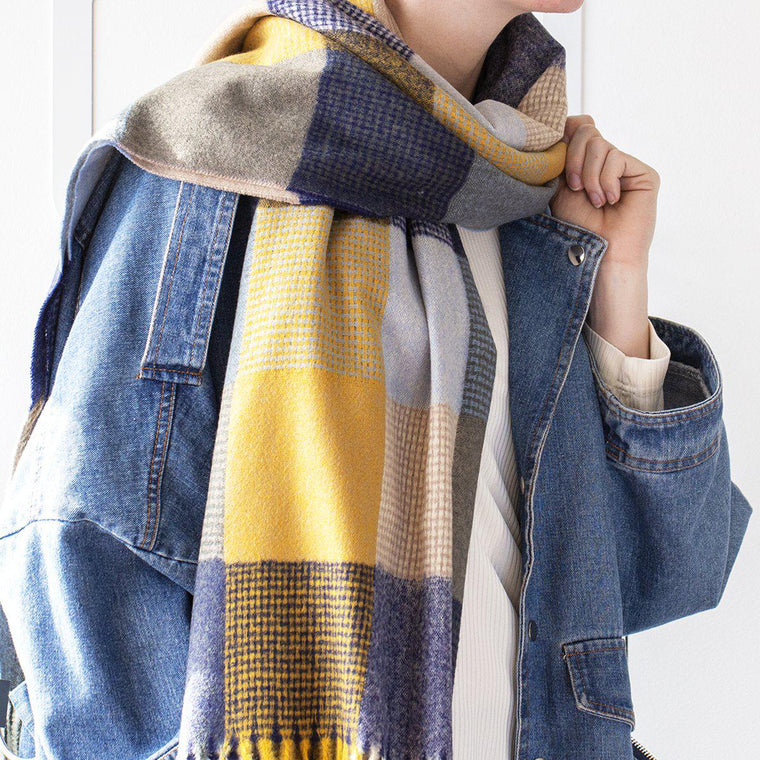 Personalised Check Squares Open Weave Scarf