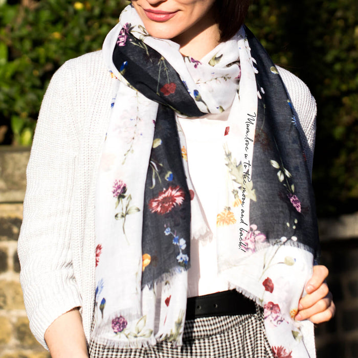 Personalised Delicate Botanical Flowers Scarf