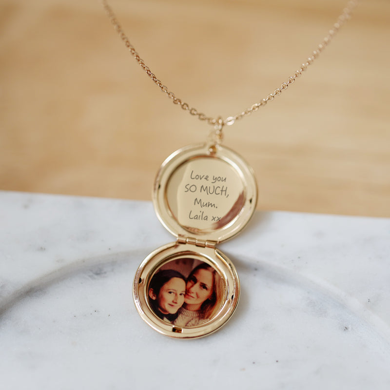 Personalised Round Locket Necklace With Hidden Photo