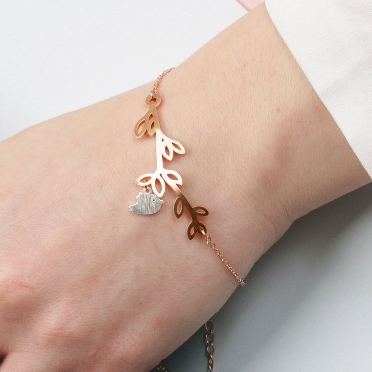 Rose Gold & Silver Bird on Branch Bracelet