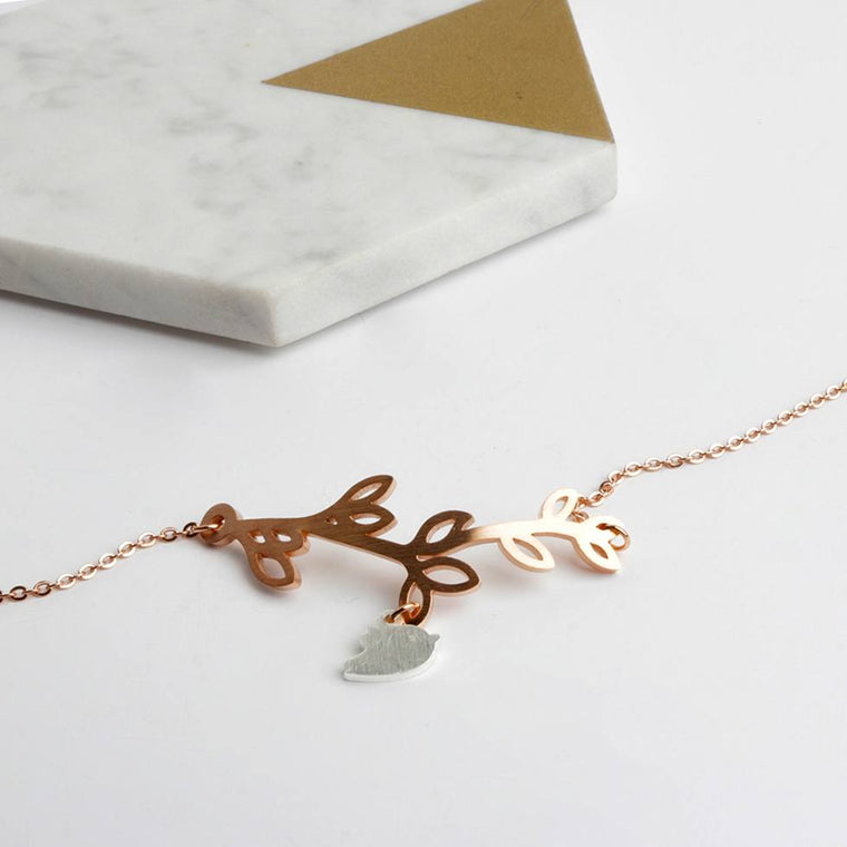 Bracelet - Rose Gold & Silver Bird On Branch Bracelet