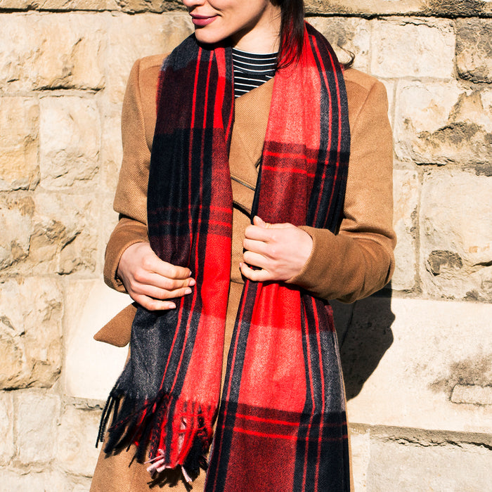 Bright Check and Stripe Scarf