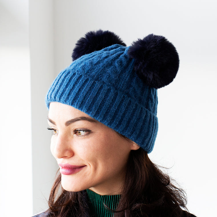 Cable Knit Duo-Pom Knit Hat
