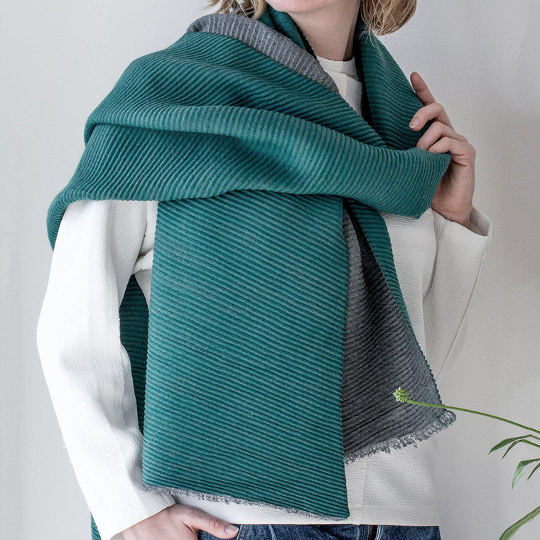 Shawl - Personalised Reversible Pleated Cashmere Scarf Shawl