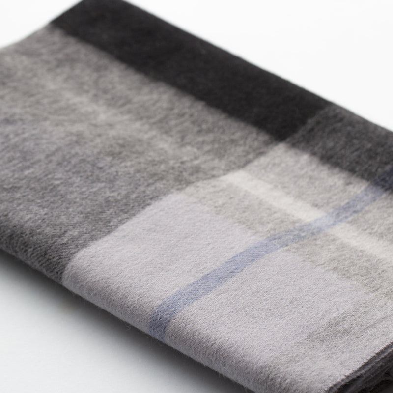 Men's 100% Wool Check Scarf-Scarf-Studio Hop-Blue/Black-Studio Hop