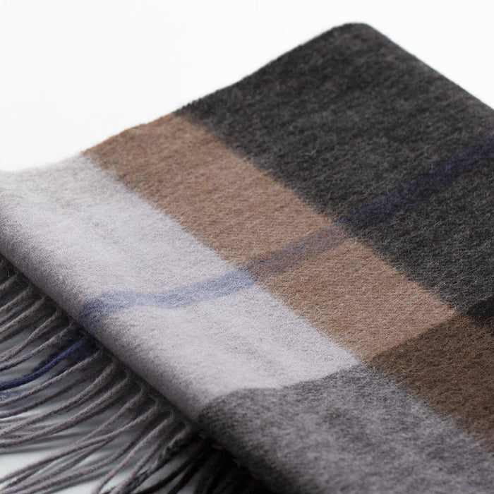 Men's 100% Wool Check Scarf