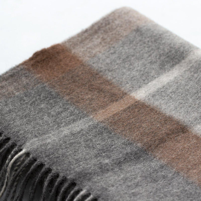 Men's 100% Wool Check Scarf-Scarf-Studio Hop-Grey/Brown-Studio Hop