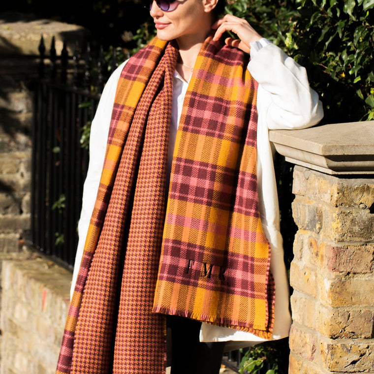 Personalised Check Reversible Jacquard Scarf