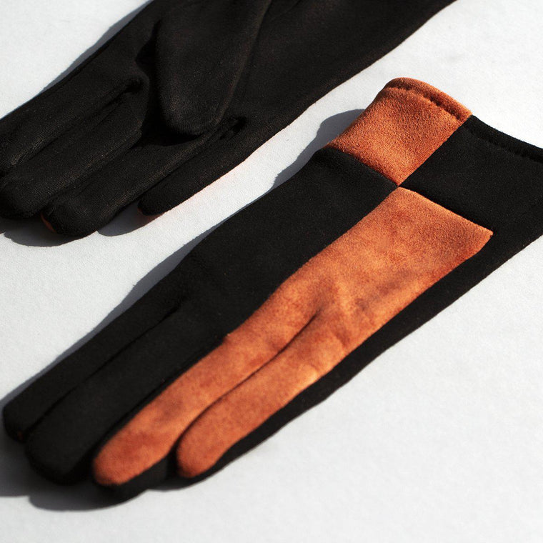 harlequin-colourblock-suede-effect-gloves