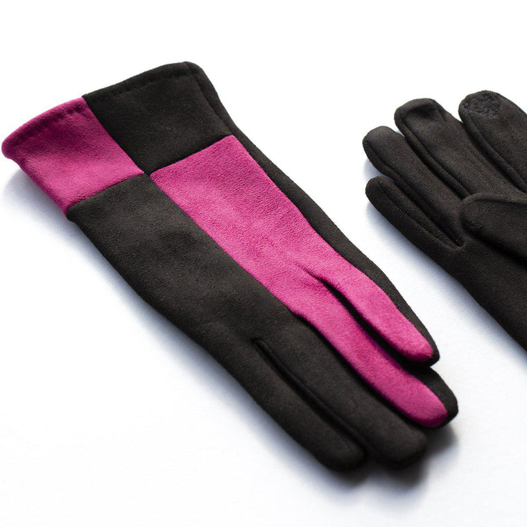 Harlequin Colourblock Suede Effect Gloves