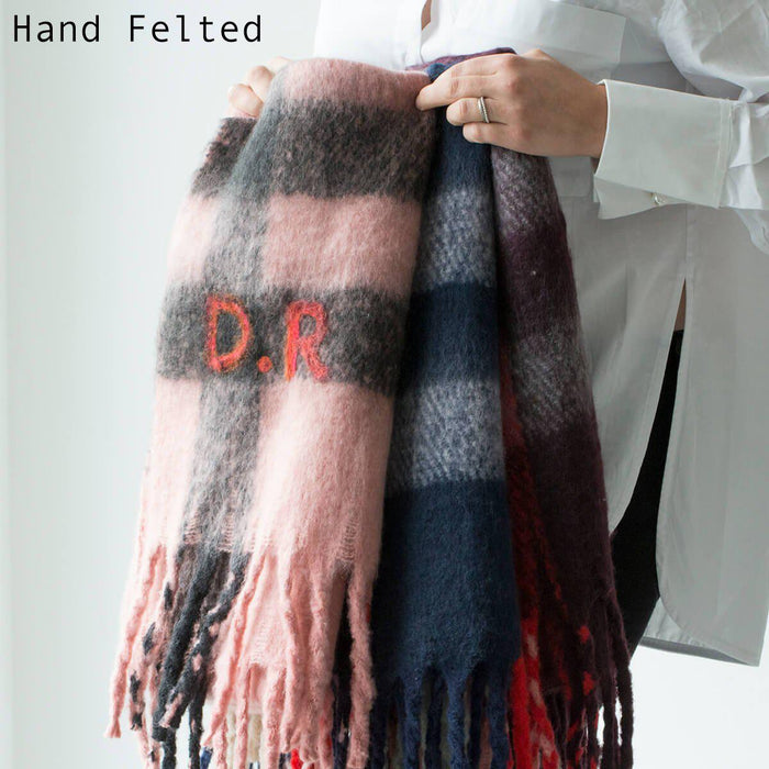 Personalised Chunky Knit Check Blanket Scarf