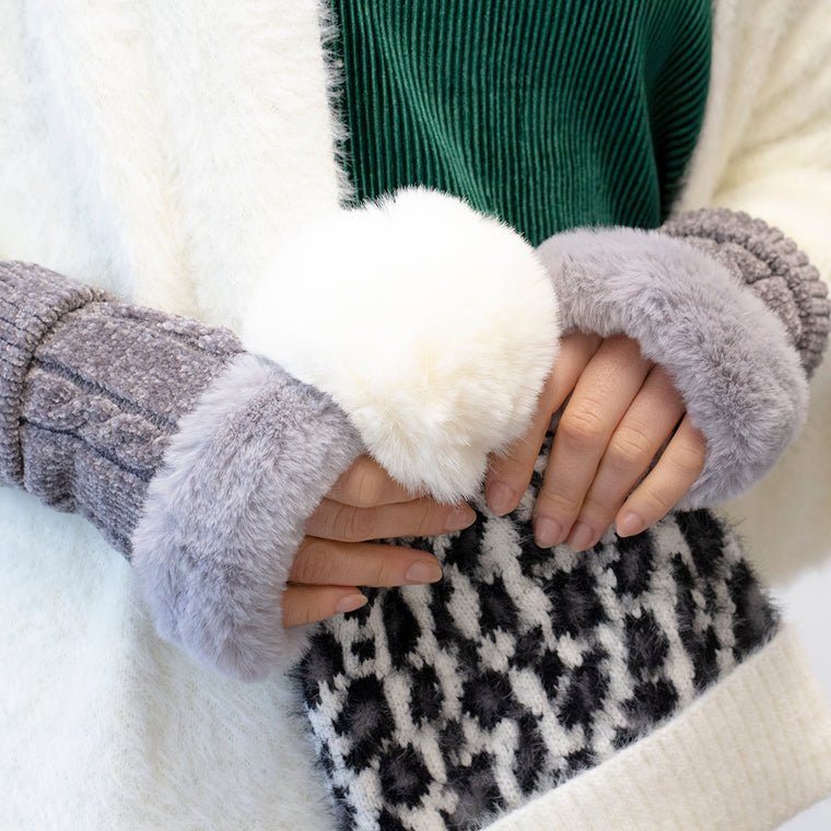 Chenille Knit Fingerless Gloves