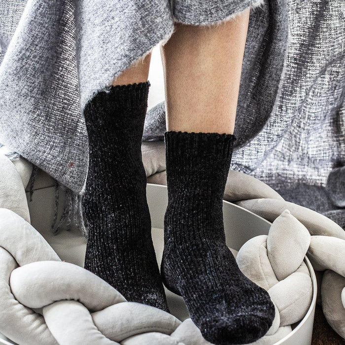 Chenille Socks in a Gift Box-Socks-Studio Hop-Charcoal-Studio Hop
