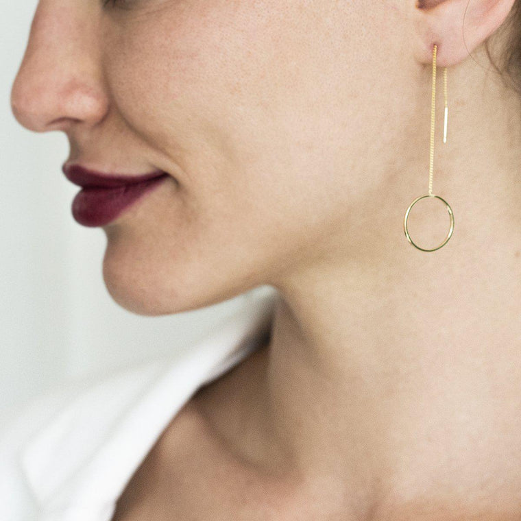 Circle Hoop Long Earrings