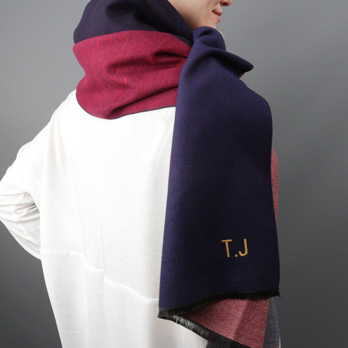 Colourblock Cashmere & Modal Shawl-Scarf-Studio Hop-Navy/Red-Studio Hop