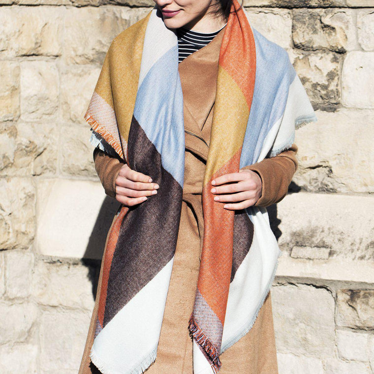 Personalised Colour Block Oversized Scarf Blue & Orange