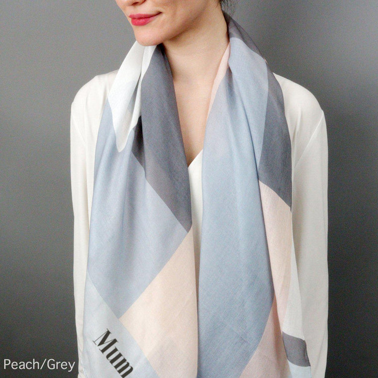 Personalised Colour Block Print Eco Scarf