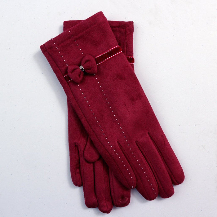 Cutesy Bow Tie Gloves With Hand Stitch Detail