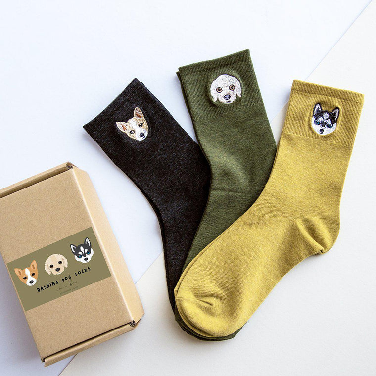 Dashing Dog Embroidered Socks Box
