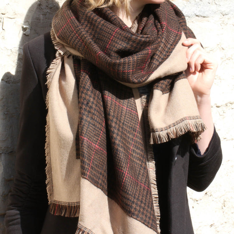 Personalised Houndstooth Check Pattern Long Scarf