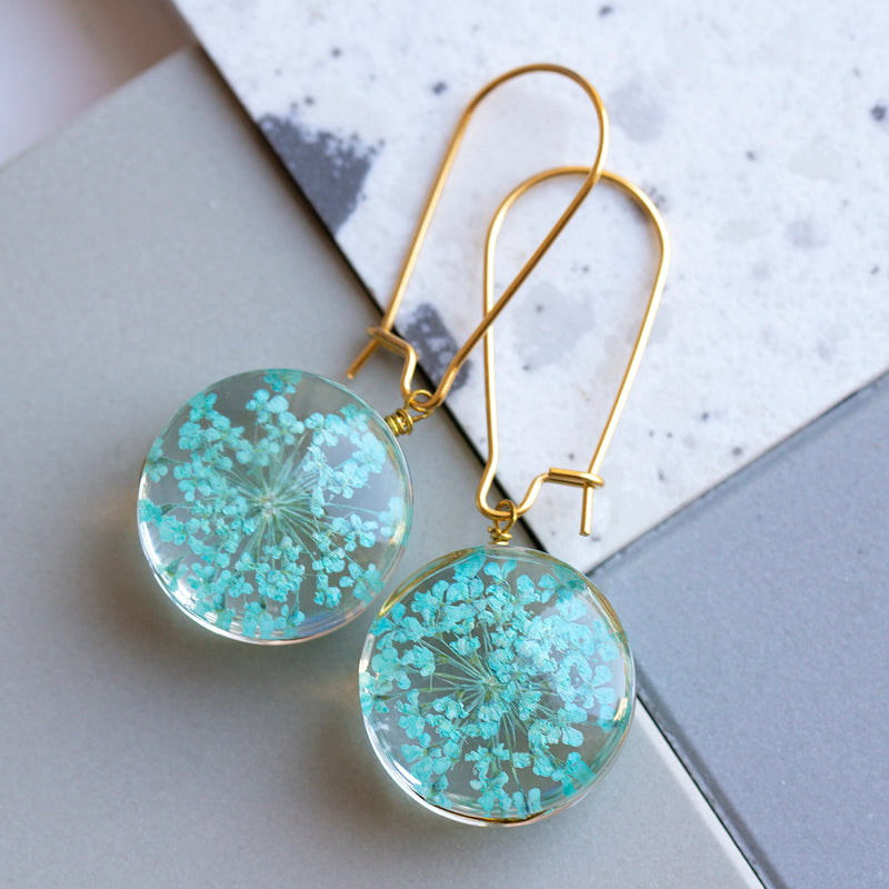 Eternal Flowers Encapsulated Earrings-Earrings-Studio Hop-Blue Starburst Flower-Studio Hop