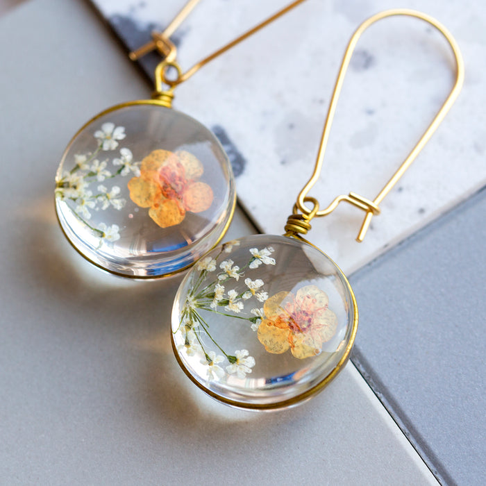 Eternal Flowers Encapsulated Earrings-Earrings-Studio Hop-Orange and White Flowers-Studio Hop