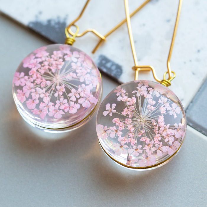 Eternal Flowers Encapsulated Earrings-Earrings-Studio Hop-Pink Starburst Flower-Studio Hop