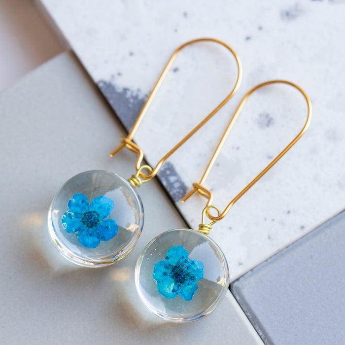 Eternal Flowers Encapsulated Earrings-Earrings-Studio Hop-Blue Single Flower-Studio Hop